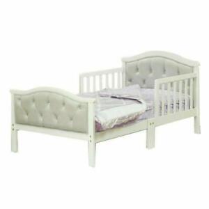 Toddler Kids Wood Wooden Bed Frame with Soft Tufted Headboard & Half Side Rails