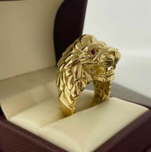 0.50 Ct Round Cut Red Ruby Roaring Lion Band Ring Men's 14K Yellow Gold Finish