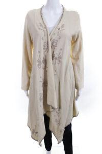 XCVI Womens Floral Print Asymmetrical Wrap Sweater Beige Cotton Size Extra Small