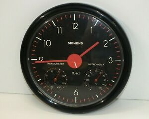 Unusual SIEMENS UK80 Wall Clock With Thermometer & Hygrometer - 23cm Diameter