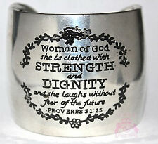 Woman of God Proverbs 31:25 Strength Dignity Antique Silver Tone Cuff Bracelet