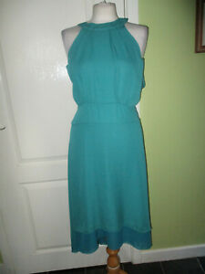 FITS A 16-18 WOMENS GREEN CHIFFON SPECIAL OCCASION DRESS SLIT BACK