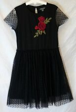 Girls Primark Black Red Rose Pleated Chiffon Spotty Party Dress Age 10-11 Years