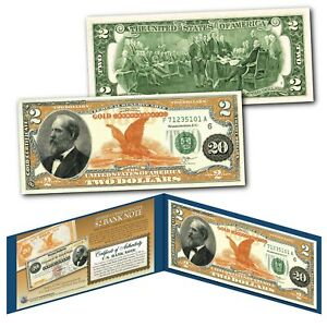 1882 Series James Garfield $20 Gold Certificate designed on a Real $2 Bill