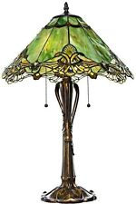 Crystal Table Lamp Lace Style Stained Glass Sea Green Antique Brass Finish New