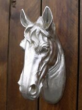 HORSE HEAD ANIMAL HEAD WALL HANGING SILVER RESIN