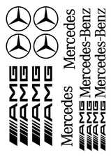 Kit de 16 Sticker Autocollant Mercedes SLK CLK ML AMG Noir m01