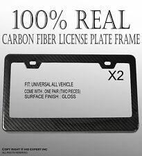 JDM 2 pcs Black Carbon Fiber Custom License Plate Snap Frame Auto Car Truck R70