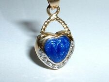 14K GOLD BLUE ENAMEL DIAMOND HEART PURSE HANDBAG CHARM PENDANT
