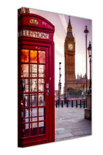 Red Telephone and Big Ben in London City Canvas Pictures Wall Art Prints