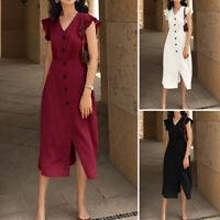 Ladies Women Ruffle V Neck Front Split Evening Party Office Midi Wrap Dress 8-26