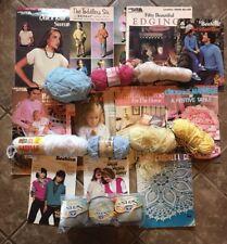 lot DMC assortment of crochet thread Senso Pattern Books Yarn vintage Knitting
