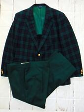 Vintage Pendleton men's suit Wool plaid double breasted blackwatch union made