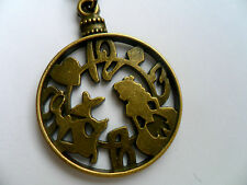 Lovely Alice in Wonderland Clock Face Bronze Curb Chain Necklace