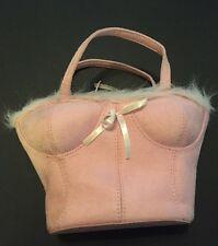 Pink Bustier Bra Corset Novelty Purse Handbag Lace Vintage 80's By Chateau