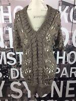 Arden B women's long brown open knit sweater size M