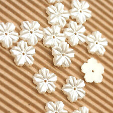 """US SELLER - 100 x 1/2"""" Plastic Faux Pearl Flower Flatback Beads for Cards SB508"""