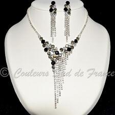 """Parure de bijoux argentée cristal noir gris clair mariage soirée miss """"clara"""""""