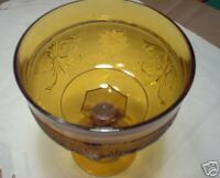Amber Sandwich Compote Dish Glass New Old Stock Tiara Indiana Glass