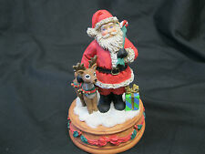 San Francisco Music Box Company Santa w/Rudolph Red Nosed Reindeer Resin