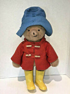 "Vintage 1977 Eden Plush Stuffed Paddington Bear Yellow Boots Red Jacket 18"""