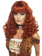 Long Ginger Wig Steam Punk Ladies Curly Fancy Dress Costume Accessory