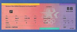 Michael Jordan 1984 USA Olympic Basketball Game Full Ticket - 08/06 - vs Germany