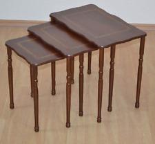 Satztische 3er Set Beistelltisch Tisch Couchtisch Massiv Farbe:  Nussbaum/Gold