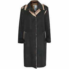 PRADA camel hair black distressed overprint jacket trompe loeil print coat 46/10