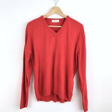 Ysl Vintage 100% Cashmere Wool Red V Neck Long Sleeve  Pullover Sweater M  B815