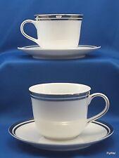 Royal Doulton Pure Platinum Cups and Saucers Set of 2 White Double Platinum Trim