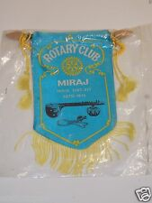 Vintage Miraj India Rotary International Club Wall Hanging Banner Flag Rare