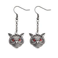 Owl Head Earrings w Red Eyes.