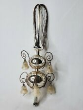 Antique German Wire Wrap Mercury Glass Christmas Tree Topper Dangling Bells 12""
