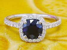 14k white gold cushion cut blue sapphire and diamonds engagement ring 2.10ctw