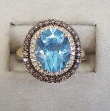 Le Vian Aquamarine White & Chocolate Diamond Halo Ring 14K  Gold Sz 7 MSRP $4399
