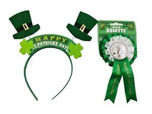 Happy St Patricks Day Wiggly Head Bopper  & Rosette Badge Paddy  Irish Ireland