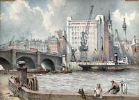 EMERSON HAROLD GROOM Watercolour Painting LONDON BRIDGE FROM HAY'S WHARF