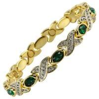 Femmes Bracelet Magnétique Faux Cristaux Aimants Émeraude Vert