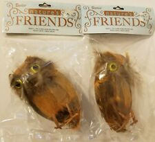 Lot of 2 Darice Nature's Friends Artificial Feathered Brown Owls Floral Crafts