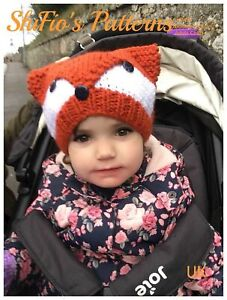 Knitting Pattern for Fox Hat, Beanie, Ladies, Childs, Chunky, KP494