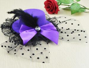 Feather Mini Top Hat Fascinator Lace Decoration Fur Hat Hair Clip Bowknot