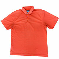 PGA Tour Polo Golf Shirt Men's Large Short Sleeve Orange Striped
