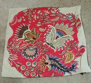 "PIER 1 Pillow Cover Tan Rust  Beaded & Sequins Flowers 17"" x 17"""