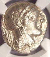 Ancient Athens Greece Athena Owl Tetradrachm Coin (440-404 BC) NGC AU, Test Cut