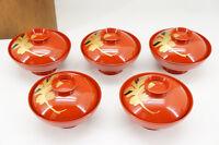 MINT Japan URUSHI Lacquered Soup Bowl Set 5pc w/box Free Ship 690r23