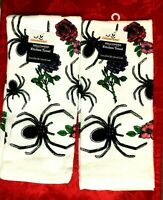 Creepy Halloween GLITTER SPIDER ROSE Decor Kitchen Towels Set of 2