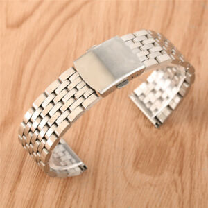 18/20/22mm 7 Beads Silver Watch Band Strap Solid Stainless Steel Replacement