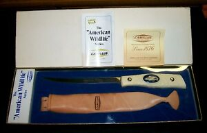 """Camillus Fillet Knife #1006 American Wildlife """"Pewter Bass"""" W/Packaging,Papers"""