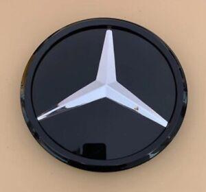 Black For Mercedes Benz W204 Star Mirror Glass Star Front Emblem Logo Snap/Clip